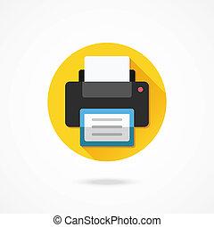 vettore, stampante, icona