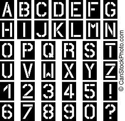 vettore, stampino, font, quadrato, alfabeto