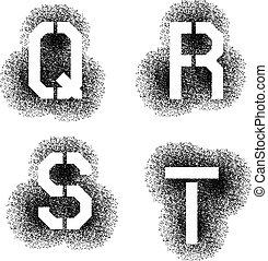 vettore, stampino, lettere, spruzzo, q, s, r, t, font, angolare