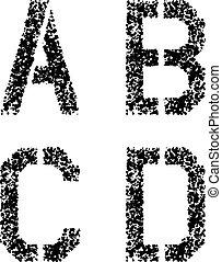 vettore, stampino, spruzzo, font, angolare