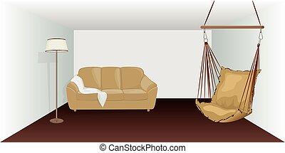 vettore, stanza, mobilia