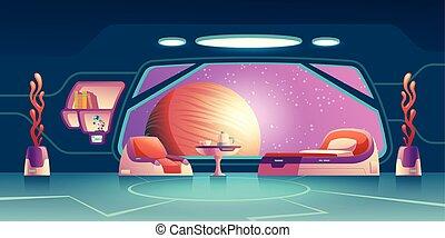 vettore, stanza, spazio, futuro, interno, cartone animato, esploratore