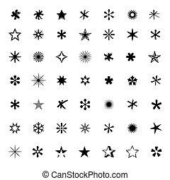 vettore, stars., set, illustra, nero