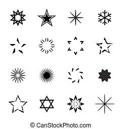 vettore, stars., set, nero, illustration.