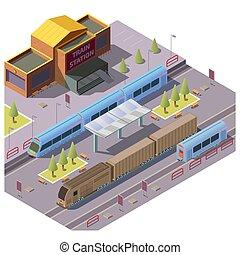vettore, stazione, ferrovia, treno, trasporto