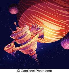 vettore, stazione spaziale, cartone animato, futuristico, starship