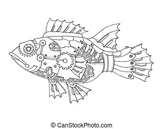 vettore, steampunk, stile, fish, libro colorante