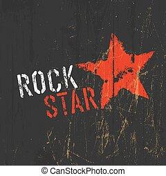 vettore, stella, illustration., roccia