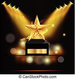 vettore, stella, premio, oro