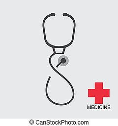 vettore, stetoscopio, icona