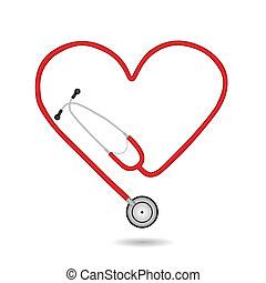 vettore, stetoscopio, illustrazione