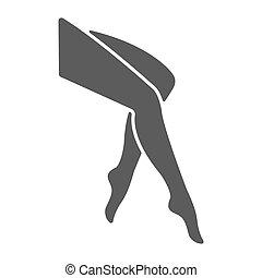 vettore, stile, concetto, centro, fondo., sano, simbolo, isolato, silhouette., piedi, stretto, donna, ghette, pulito, feet., trendy, logotipo, elemento, gambe, .logo, icona
