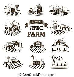vettore, stile, concetto, naturale, paesaggi, woodcut, eco, collection., etichette, isolato, products., fattorie, fattoria, set, retro, vendemmia, casa, illustration.