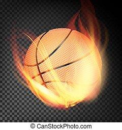 vettore, stile, palla, urente, realistic., isolato, pallacanestro, fondo, arancia, trasparente