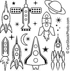 vettore, stilizzato, spazio, simboli