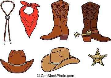 vettore, stivali, illustrazione, cowboy