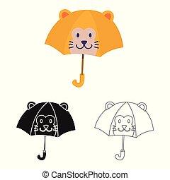 vettore, stock., parasole, icona, logo., bambini, colorito, collezione, illustrazione