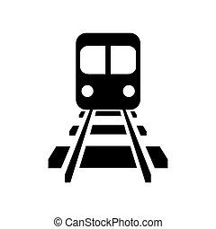 vettore, strada, rotaia, locomotiva, ferrovia, icona, treno...