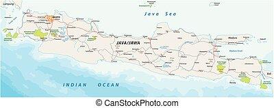 vettore, strade, e, parco nazionale, mappa, di, il, indonesiano, isola, java, 2