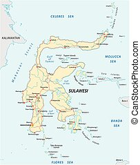 vettore, strade, mappa, di, indonesiano, isola, sulawesi
