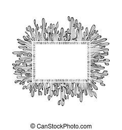 vettore, stress, coloritura, saguaro, cornice, illustrazione, fondo., libro, anti, adulto, bianco, cactus, pagina, scheda, design.
