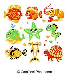vettore, subacqueo, fish, colorito, set, caratteri, piante, illustrazioni, mondo, marino, cartone animato, life.