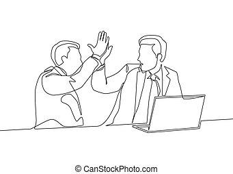 vettore, successive, alto, continuo, affare, riunione, disegno, gesture., cinque, loro, concetto, rivestire disegno, festeggiare, bersaglio, uomini affari, illustrazione affari, disegnare, uno