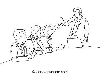vettore, successive, alto, continuo, affare, riunione, gruppo, disegno, gesture., cinque, loro, scopo, concetto, rivestire disegno, festeggiare, uomini affari, illustrazione affari, disegnare, uno