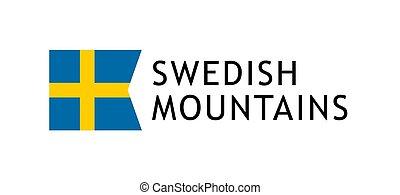 vettore, svedese, illustrazione, bandiera, intelligible, nazionale, montagne, giri, sagoma, amabile, svezia, logotype