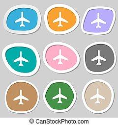 vettore, symbols., variopinto, aeroplano carta, stickers., icona