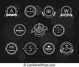 vettore, symbols., vendemmia, astratto, etichette, illustrazione, elementi, disegno, frecce, logotipo, set., nastri