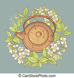 vettore, tè, illustrazione, gelsomino