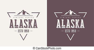 vettore, t-shirt, alaska, abbigliamento, textured, disegno, vendemmia, stato