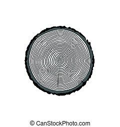 vettore, taglio, ceppo, legno, anelli, sezione, albero,...