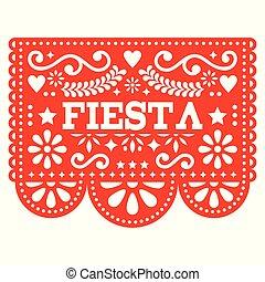 vettore, taglio, picado, ghirlanda, fiesta, -, papel, messicano, forme, carta, disegno, festa, geometrico, fiori, rosso, fuori