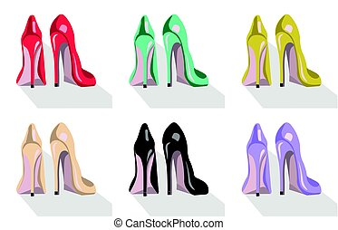 vettore, tallone, set, illustrazione, scarpe, colorito, alto