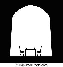 vettore, tavola, sedia, bevanda