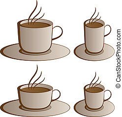 vettore, tazze caffè