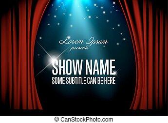 vettore, teatro, illustrazione, palcoscenico