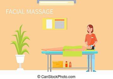 vettore, tecnica, procedure, massaggio, facciale