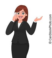 vettore, telecomunicazione, concetto, mobile, donna d'affari, o, gesturing, space., mano, telefono, smartphone, illustrazione, cartone animato, copia, tecnologia, style., parlante, felice
