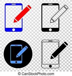 vettore, telefono, redigere, eps, dischi, versione, contorno, icona