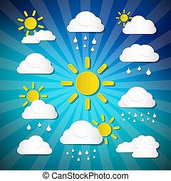 vettore, tempo, icone, -, nubi, sole, pioggia, su, retro, sfondo blu