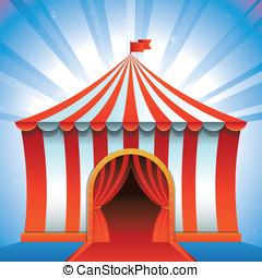 vettore, tenda circus, -, luminoso, icona