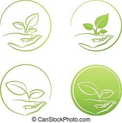 vettore, tenendo mano, crescita, pianta, set, logotipo, ...