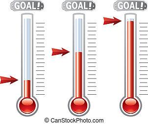 vettore, termometri