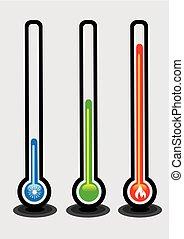 vettore, termometri, temperatura, illustrazione