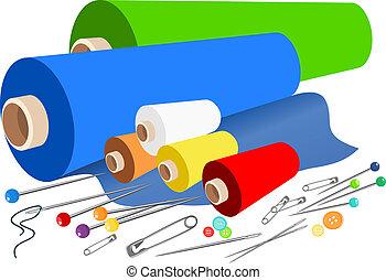 vettore, tessuto, cucito, accessori