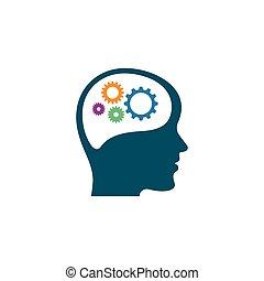 vettore, testa, cervello, ingranaggio, disegno, illustrazione