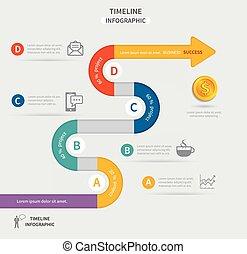 vettore, timeline, infographic, sagoma